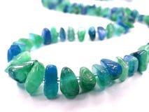Aquamarine gemstone beads necklace jewelery Royalty Free Stock Photography