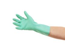 Aquamarine latex glove for cleaning. Stock Image