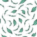 Aquamarine leaves pattern stock illustration