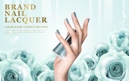 Aquamarine nail lacquer ad. Delicate hand colorful elements and nail lacquer bottles on rosy background, 3d illustration Royalty Free Stock Photo