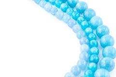 Aquamarine natural crystals gem  on white background Stock Photography
