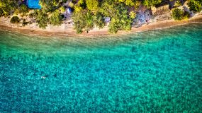 Aquamarine ocean. From above. Ko Chang. Thailand. December 2017 stock photography