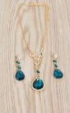 Aquamarine Pendant, earrings Royalty Free Stock Photography