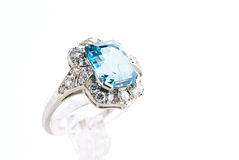 Aquamarine ring. Isolated against a white background royalty free stock photography