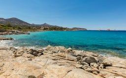 Aquamarine sea and rocks at Cala d'Olivu near Ile Rousse in Cors Stock Photos