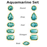 Aquamarine Set With Text. Aquamarines set different cut - round, drop, oval, boat and octagon. Brilliant three-dimensional jewelry on a white background Stock Photo