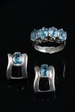 Aquamarine in silver ring and earing Stock Images