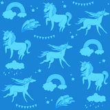 Aquamarine unicorns with clouds, rainbow and stars on a blue background. Hand-drawn seamless pattern with rainbow, unicorn, cloud, cake, sweets, flower Stock Photos