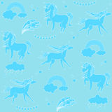 Aquamarine unicorns with clouds, rainbow and stars on a light green background. Hand-drawn seamless pattern with rainbow, unicorn, cloud, cake, sweets, flower Stock Image