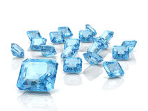 Aquamarine. On white background (high resolution 3D image Stock Photos