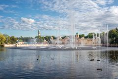 Aquanura巨大水展示在主题乐园Efteling 图库摄影