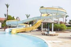 Aquapark στο δημοφιλές ξενοδοχείο Αίγυπτος Στοκ εικόνες με δικαίωμα ελεύθερης χρήσης
