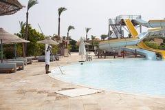 Aquapark στο δημοφιλές ξενοδοχείο Αίγυπτος Στοκ φωτογραφίες με δικαίωμα ελεύθερης χρήσης