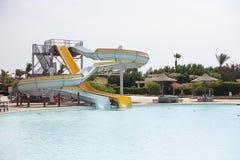 Aquapark στο δημοφιλές ξενοδοχείο Αίγυπτος Στοκ φωτογραφία με δικαίωμα ελεύθερης χρήσης