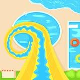 Aquapark Afdaling van een steile heuvel Vector vlakke illustratie Stock Foto's