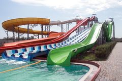 Aquapark attraction in summer sunny day.  Stock Photo