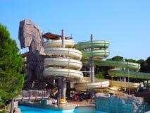 Aquapark. Belek, Turkey - June 13, 2012: Slides an aquapark, stylized as a Trojan horse Stock Images