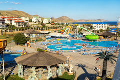 Aquapark in the city of Koktebel in summer Stock Photo