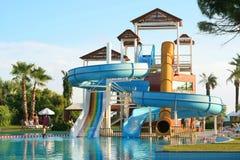 Aquapark construction. In swimming-pool Stock Image