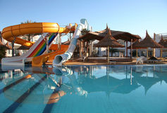 Aquapark constructions and parasols Stock Image