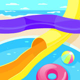 Aquapark. Descent from a steep hill. Royalty Free Stock Photo