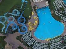 Aquapark från över Arkivfoto