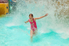 Aquapark 3. The girl in an aquapark. Laughter and splashes stock photos