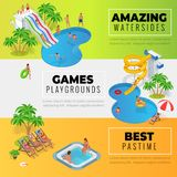Aquapark horizontal web banners with different water slides, family water park, hills tubes and pools isometric vector. Illustration. design for web, site Royalty Free Illustration