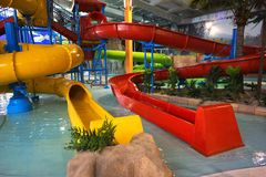 Aquapark interno Fotografia de Stock Royalty Free