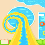 Aquapark Nedstigning från en brant kulle Plan illustration royaltyfri illustrationer