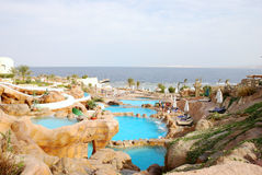 Aquapark at popular hotel near Red Sea Stock Photo