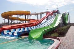 Aquapark przyciąganie w lato słonecznym dniu Zdjęcie Stock
