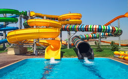 Aquapark sliders, aqua park Royalty Free Stock Images