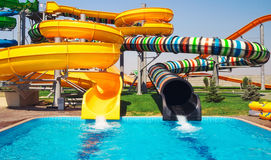 Aquapark sliders, aqua park Royalty Free Stock Image