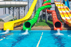 Aquapark sliders, aqua park. Royalty Free Stock Photo