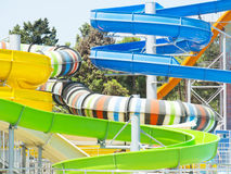 Aquapark sliders, aqua park, water park. Stock Images