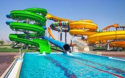 Aquapark sliders with pool Royalty Free Stock Image