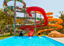 Aquapark sliders, swimming pool Stock Photography
