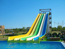Aquapark slides Stock Photo