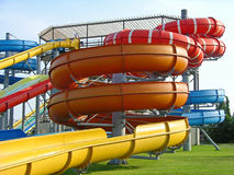 Aquapark slides Stock Photo