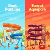 Aquapark Vertical Banners stock illustration