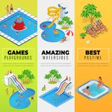 Aquapark vertical web banners with different water slides, family water park, hills tubes and pools isometric vector. Illustration. design for web, site Stock Image