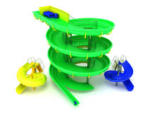 Aquapark water carousels green, blue, yellow 3d render on white Royalty Free Stock Photos
