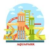 Aquapark zewnętrznego widoku plenerowa panorama Obraz Royalty Free