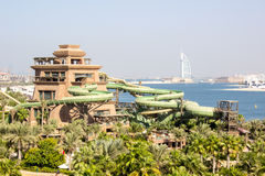 Aquaparken i Dubai Arkivfoton