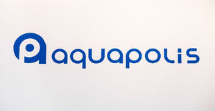 Aquapolis company logo. Printed sticker letters Royalty Free Stock Photography