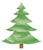 Aquarel Cristmas Tree Stock Image