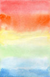 Aquarel rainbow on white paper Stock Image