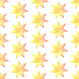 Aquarel star, vector vintage seamless pattern Royalty Free Stock Photo
