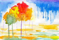 Aquarela abstraction-2 do outono ilustração royalty free